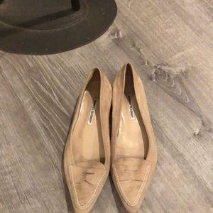 Manolo  Blahnik light tan suede loafers